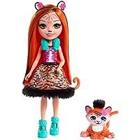 Enchantimals Mini-poupée Tanzi Tigre et Figurine Animale Tuft, rousse avec jupe à motifs en tissu, jouet enfant, FRH39