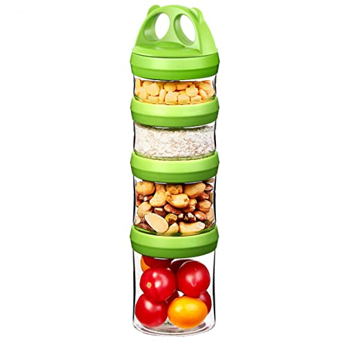 SELEWARE Food Storage Canisters Airtight Handy Portion Size Jars and Containers BPA Free Stackble Snack Pots Nut Box Leak Proof Twist Lock Formula Dispenser Gift 910ML Green