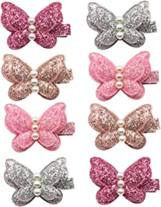 Elesa Miracle Baby Girl Toddlers Infants Kids Hair Snap Clips Barrettes (8pc-Sequins Pearl Butterfly), One Size