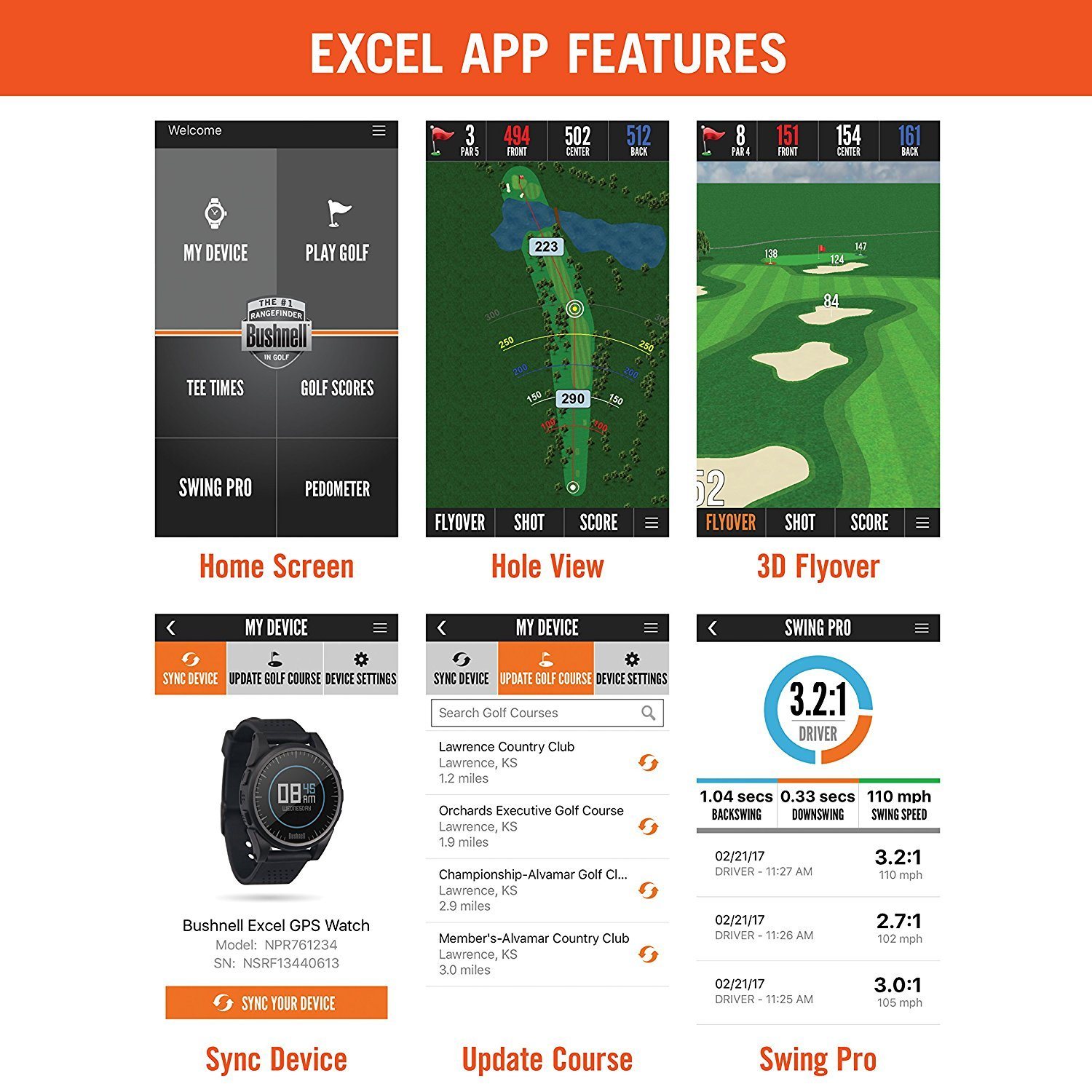 Bushnell 2017 Excel Golf GPS Watch Rangefinder (BLACK) Comes with 1 Custom Ball Marker Hat Clip Set (American Eagle) 35,000+ Worldwide Courses by Bushnell (Image #3)