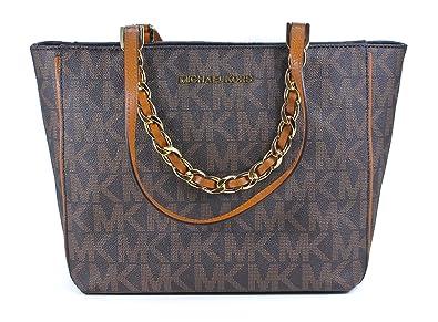 484fdde96b34 Image Unavailable. Image not available for. Colour: Michael Kors Harper  Signature Medium East West Tote Bag Handbag Brown
