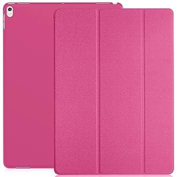 KHOMO Funda iPad Pro 12.9 (Segunda Generación 2017) Carcasa Rosa Oscuro Ultra Delgada y Ligera con Smart Cover Rosado Fuerte Apple iPad Pro (12,9