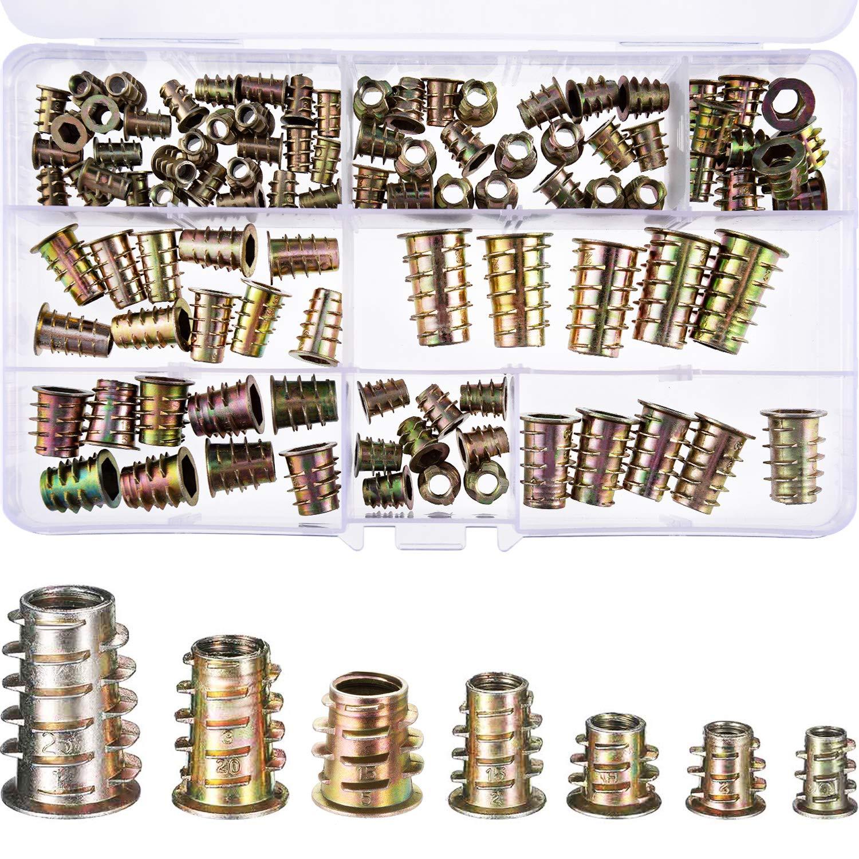 100 Piezas de Tornillo de Socket Hexagonal de Mueble de Aleació n Zinc M4/ M5/ M6/ M8/ M10 Insertos de Rosca Kit de Herramienta de Surtido de Tuercas para Mueble de Madera (6 Tamañ os) TecUnite