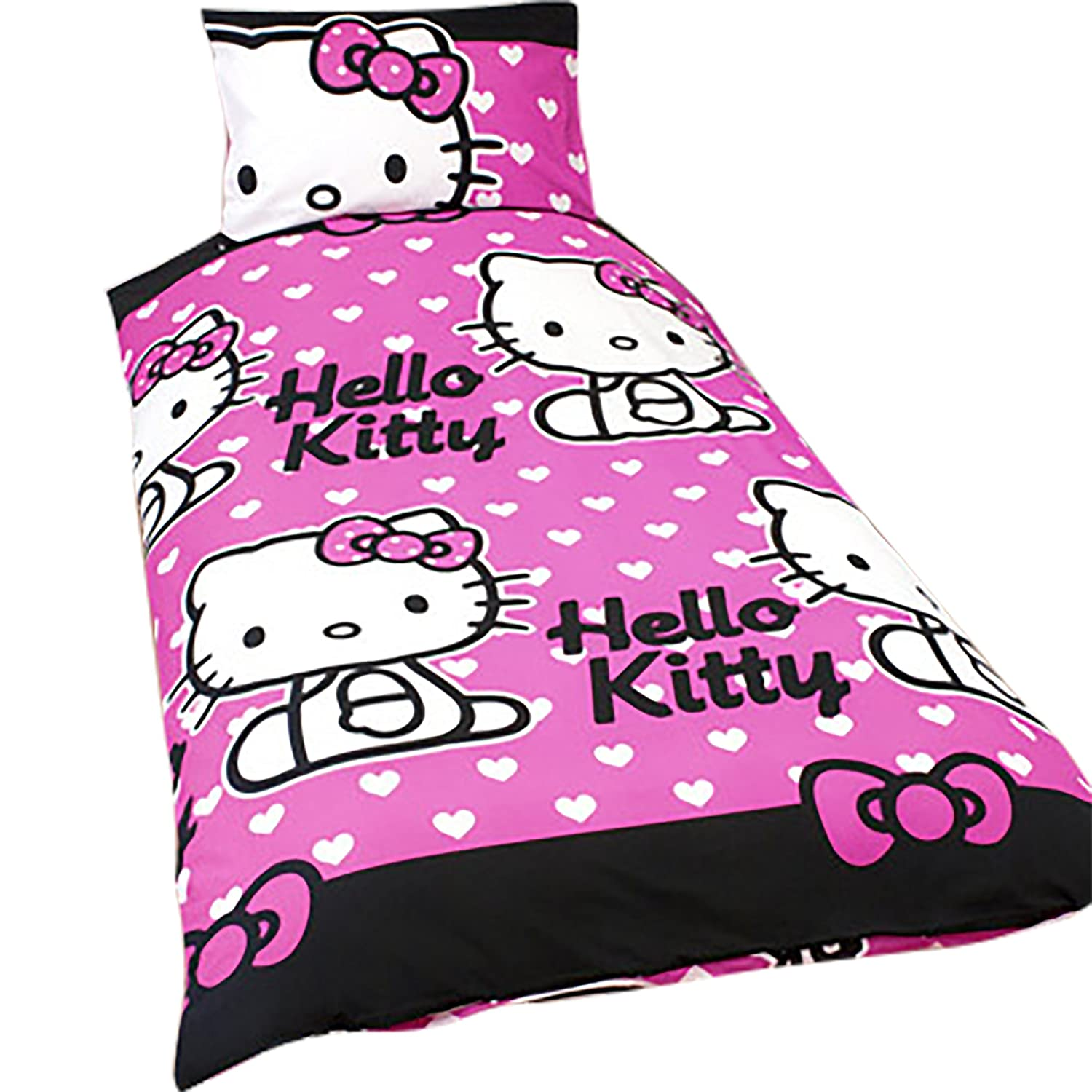 HELLO KITTY 2 IN 1 REVERSIBLE DESIGN SINGLE DUVET COVER AND PILLOW CASE SET