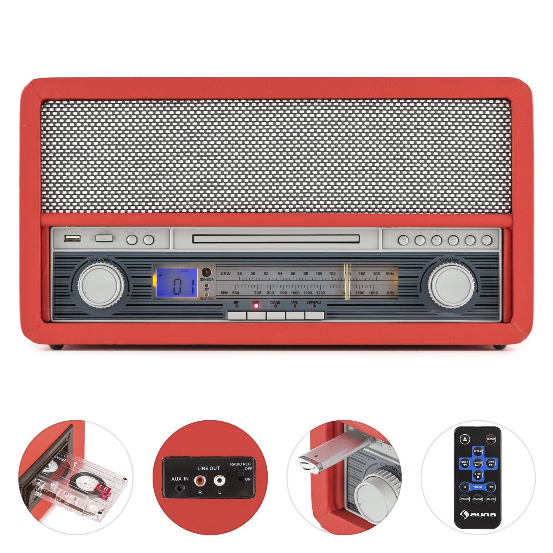 auna Belle Epoque 1907 - estéreo , Tocadiscos , máx. 78 RPM , Bluetooth , Radio , Receptor FM/Am , digitalización , Reproductor de CD , MP3 , pletina ...