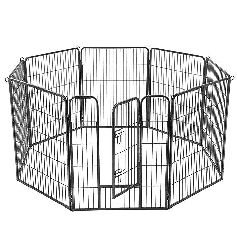FEANDREA Parque para Perros de 8 Paneles, Jaula para Perros de ...
