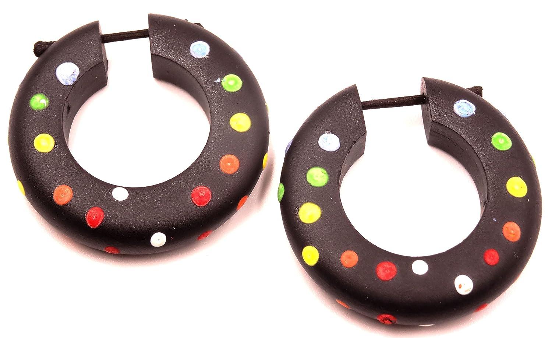 Falso Dilatador madera pendientes Piercing Wooden Gauge Earring Fake par pintado aro: Amazon.es: Joyería