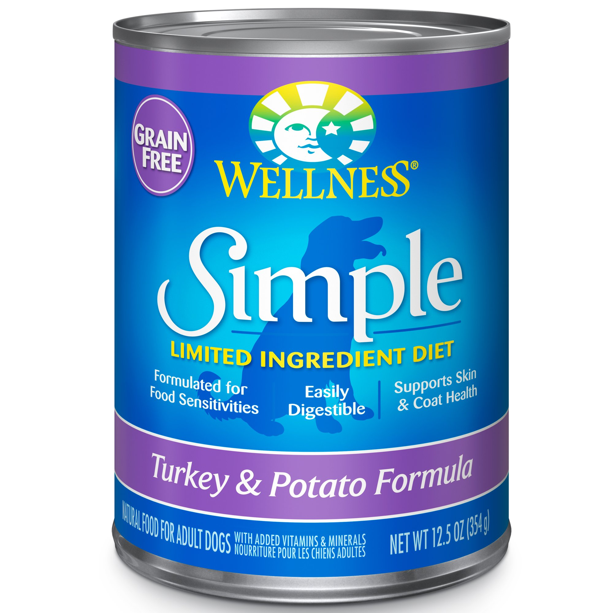Wellness Simple Natural Grain Free Wet Canned Limited Ingredient Dog Food, Turkey & Potato, 12.5-Ounce Can (Pack Of 12) by Wellness