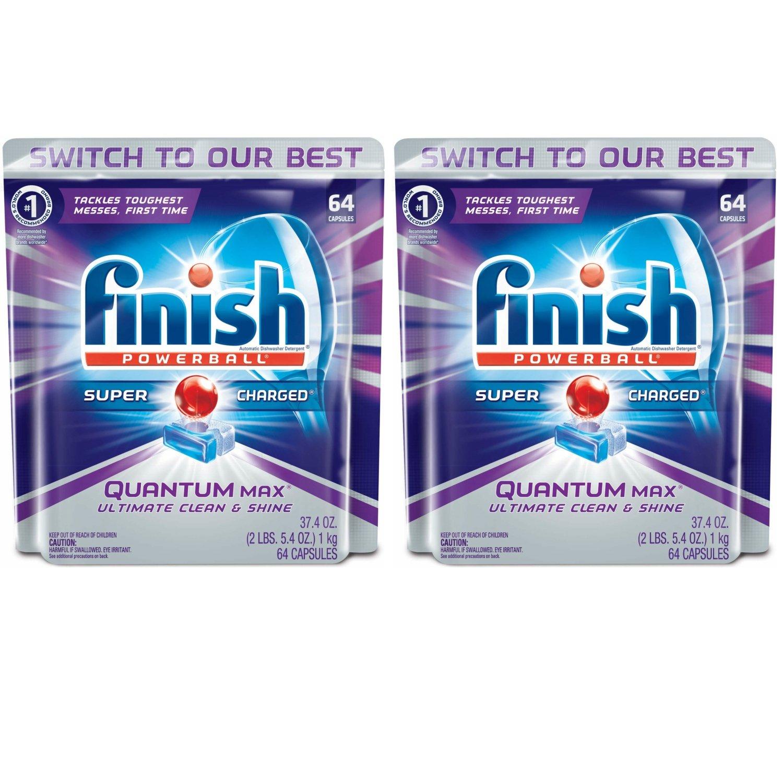 Finish Quantum Max Powerball、64ct、食洗機洗剤タブレット、究極のクリーン&シャイン(2パック) B0792QGRJ9