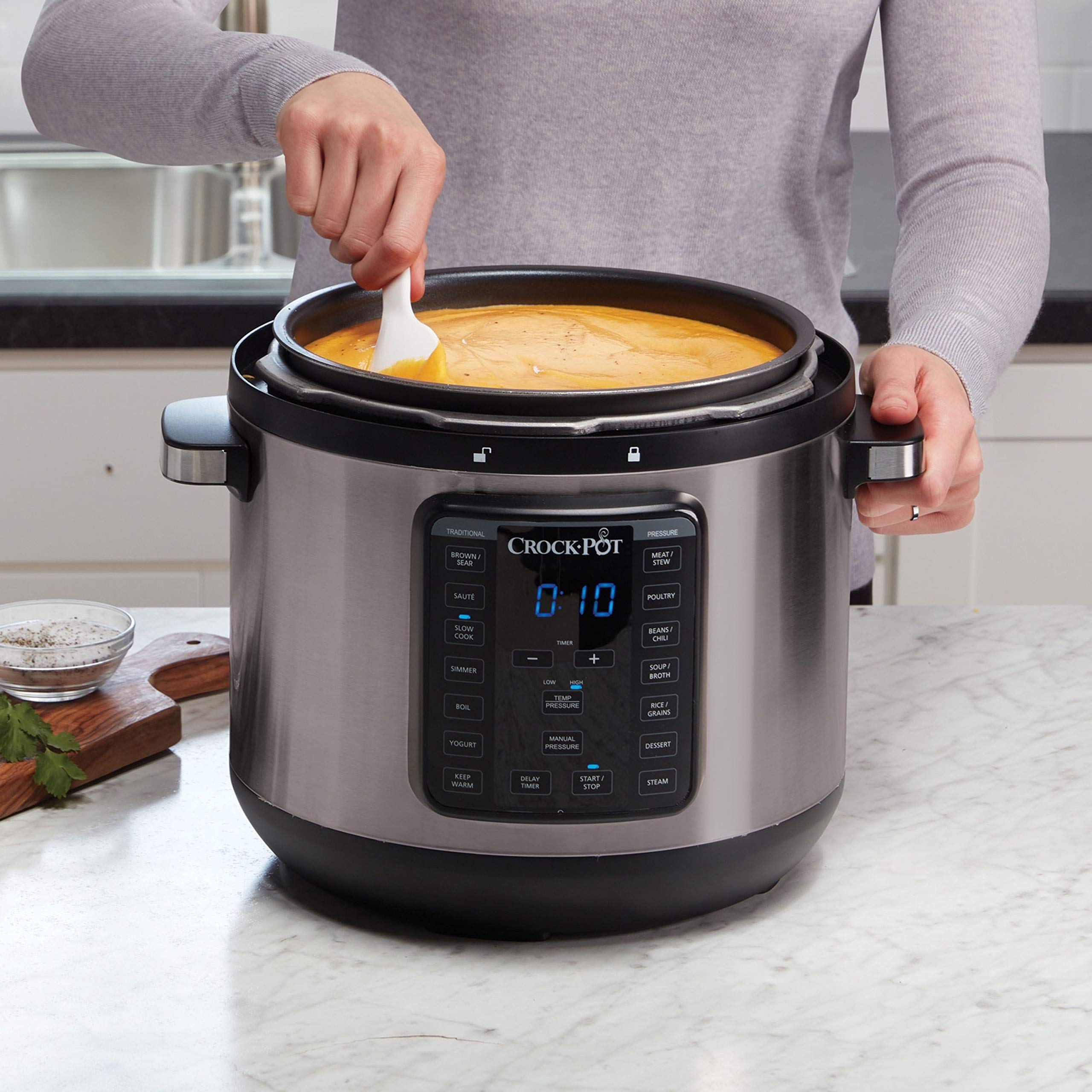 Crock-Pot 8-Quart Multi-Use XL Express Crock Programmable Slow Cooker and Pressure Cooker with Manual Pressure, Boil & Simmer, Black Stainless by Crock-Pot (Image #5)