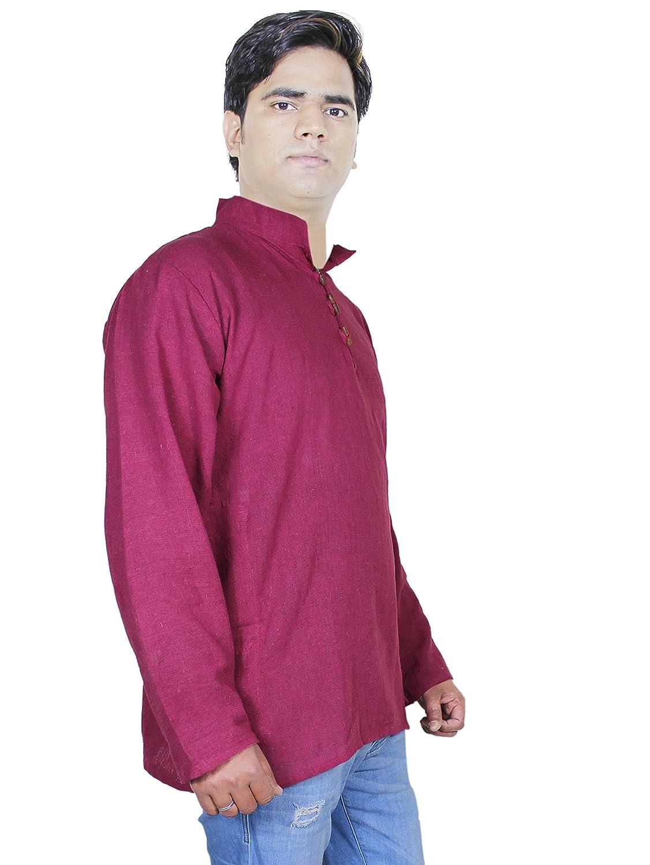 RoyaltyLane Camisa Cuello MAO Color Rojo Manga Larga Algodón ...