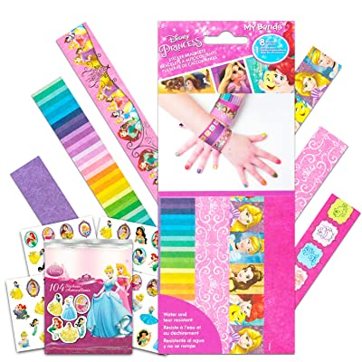 Disney Princess Party Favors Sticker Bracelets Set -- 8 Disney Princess Wristbands with 100 Bonus Stickers (Disney Princess Party Supplies): Toys & Games
