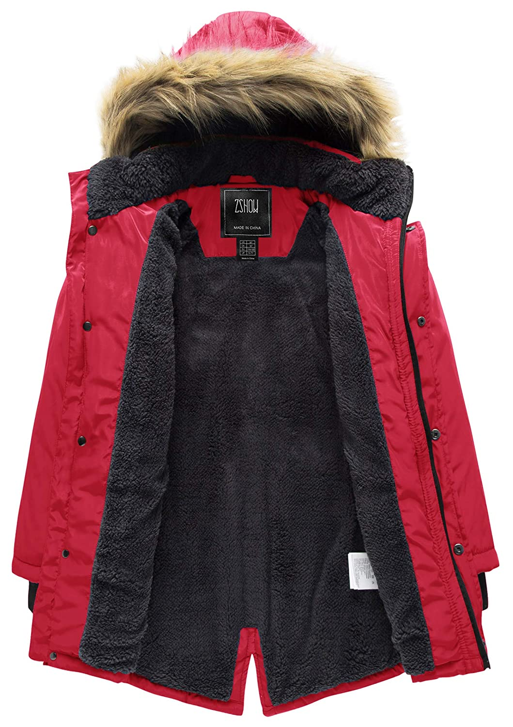 ZSHOW Boys Active Hooded Puffer Jacket Padded Winter Mid-Long Thicken Outwear