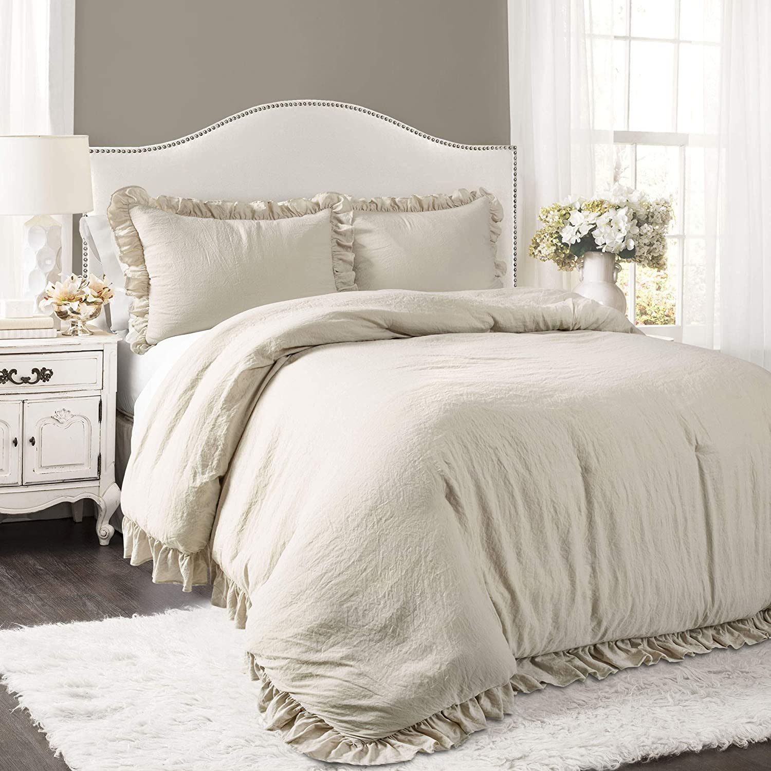 Lush Decor Reyna Comforter Wheat Ruffled 3 Piece Set with Pillow Sham King Size Bedding