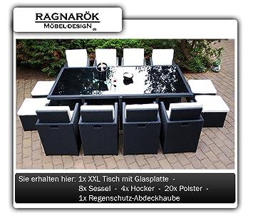Ragnarök Möbeldesign PolyRattan Essgruppe DEUTSCHE MARKE   EIGNENE  PRODUKTION   Tisch 8 Stuhl 4 Hocker