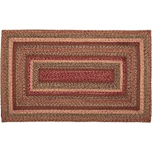 VHC Brands 45600 Burgundy Red Primitive Country Flooring Cider Mill Jute Rug, 36x60