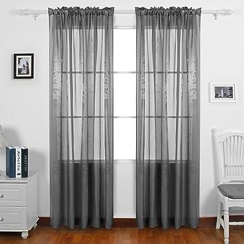 Amazon.com: Deconovo Decorative Jacquard Sheer Curtains Sheer ...