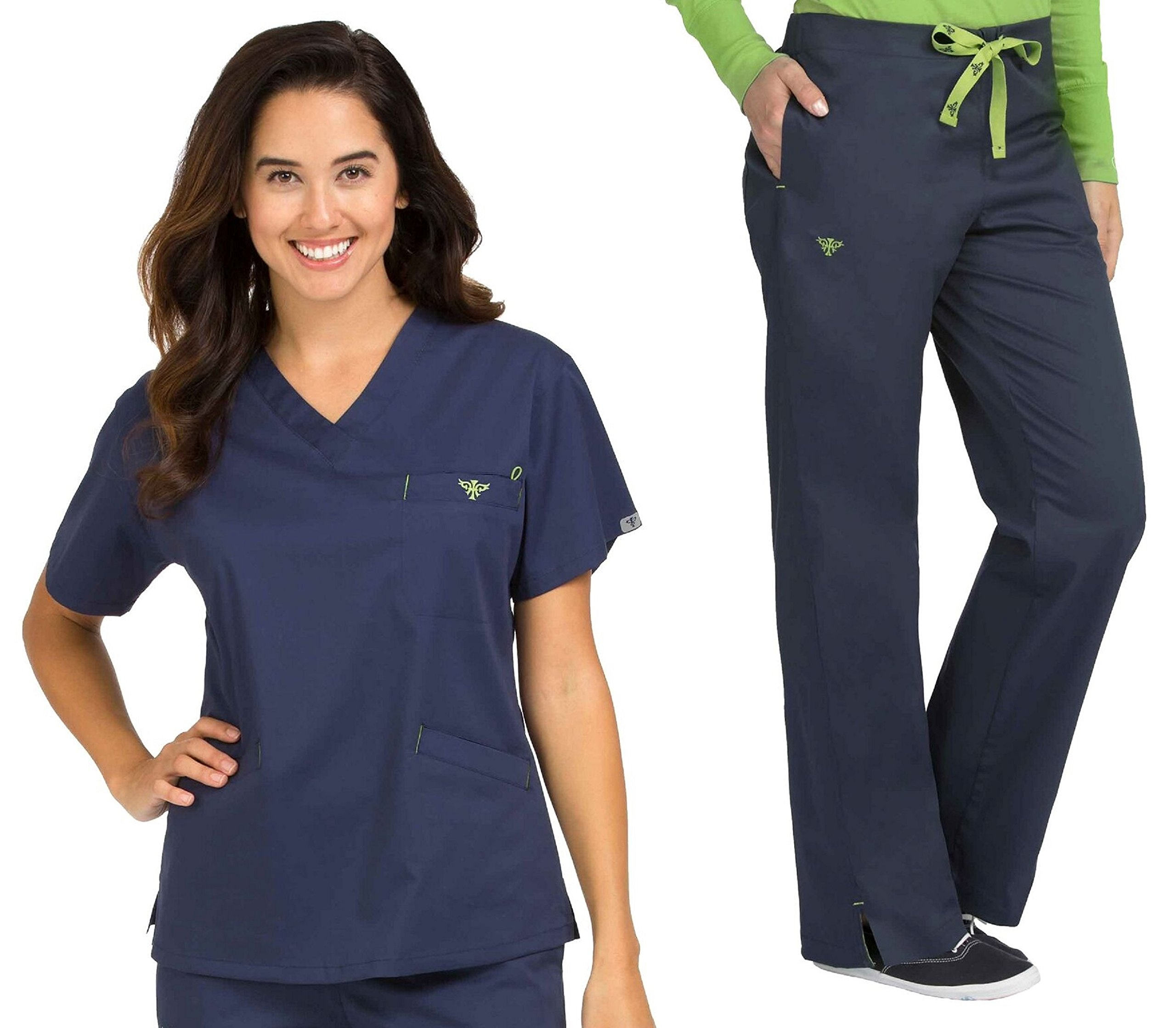 Med Couture Signature V-Neck Top & Signature Straight Leg Pant Scrub Set[XS - 3XL] + Free Gift