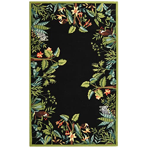 Safavieh Chelsea Collection HK295B Hand-Hooked Black and Green Premium Wool Area Rug 6 x 9