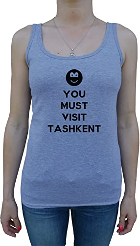 You Must Visit Tashkent Mujer De Tirantes Camiseta Gris Todos Los Tamaños Women's Tank T-Shirt Grey All Sizes