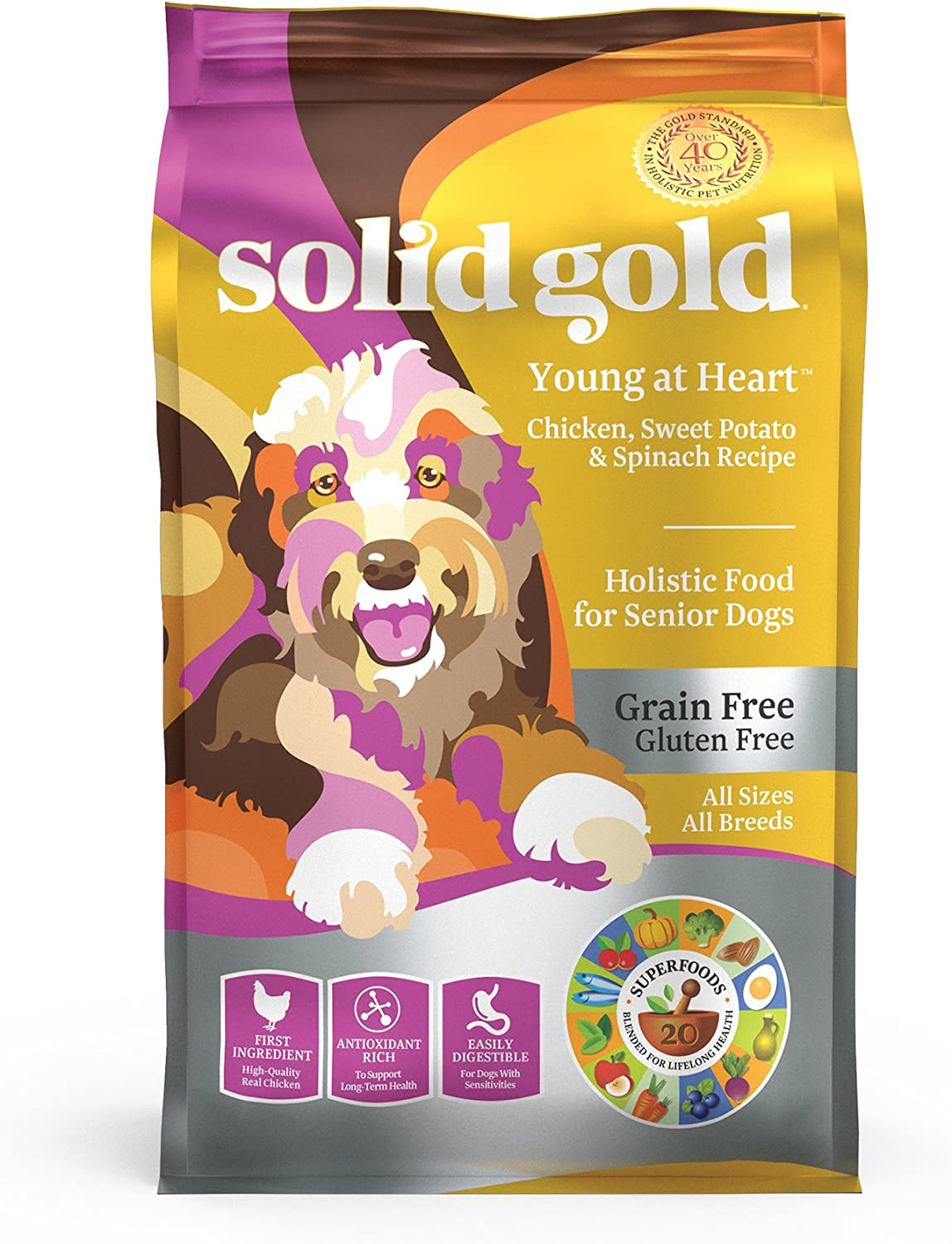 Solid Gold – Young at Heart with Real Chicken – Grain-Free – Antioxidant Rich – Dry Dog Food Seniors with Sensitive Stomachs
