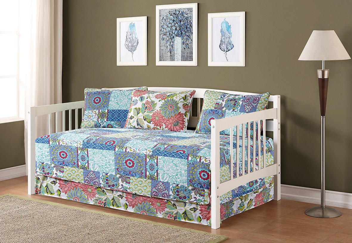 Fancy Collection 5pc Day Bed Cover Floral Blue Teal Green New #78
