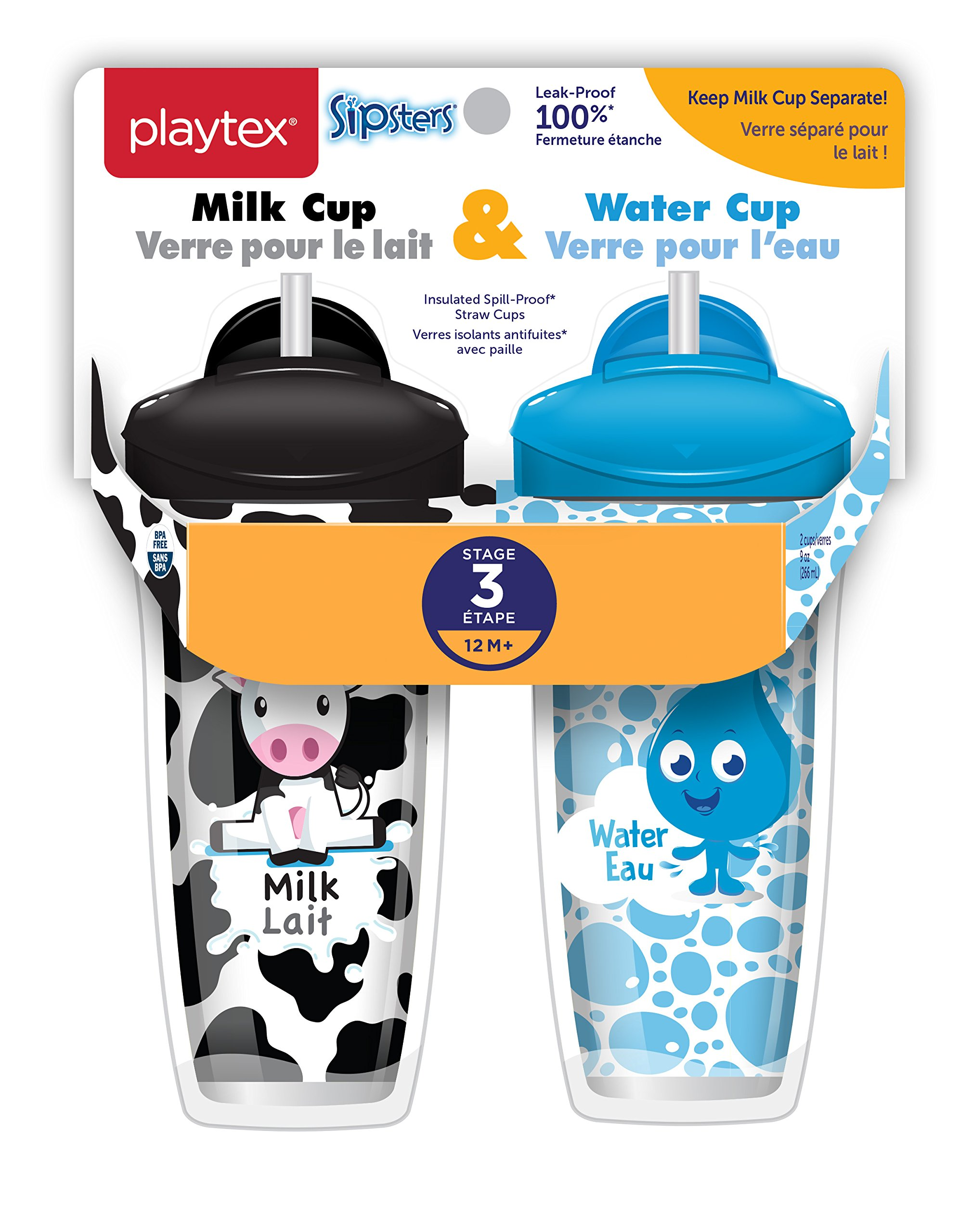 Playtex Sipsters Stage 3 Milk and Water Spill-Proof, Leak-Proof, Break-Proof Insulated Toddler Straw Sippy Cup Set, 9 Ounce - 2 Count by Playtex