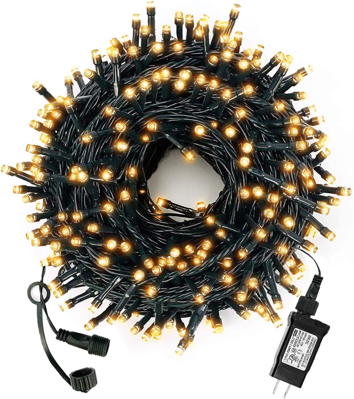 Green Convenience Christmas String Lights 108ft 300 LED Indoor String Lights with Plug,8 Modes Lights Waterproof Outdoor Indoor for Christmas,Party,Tree,Window, Wedding Decoration (Warm White)