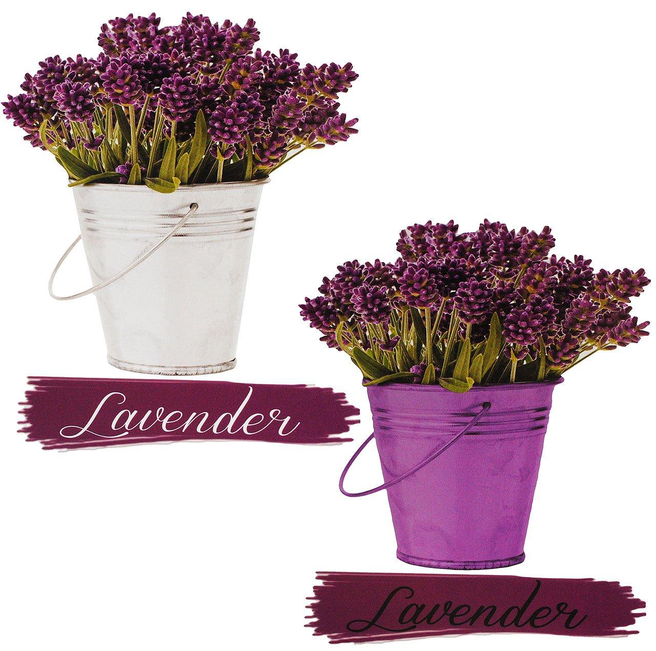 alles-meine.de GmbH 4 TLG. Set _ XL Fensterbilder -  Lavendel / Toskana  - incl. Name - Sticker Fenstersticker Aufkleber - selbstklebend + wiederverwendbar - Fensterbild / z.B...