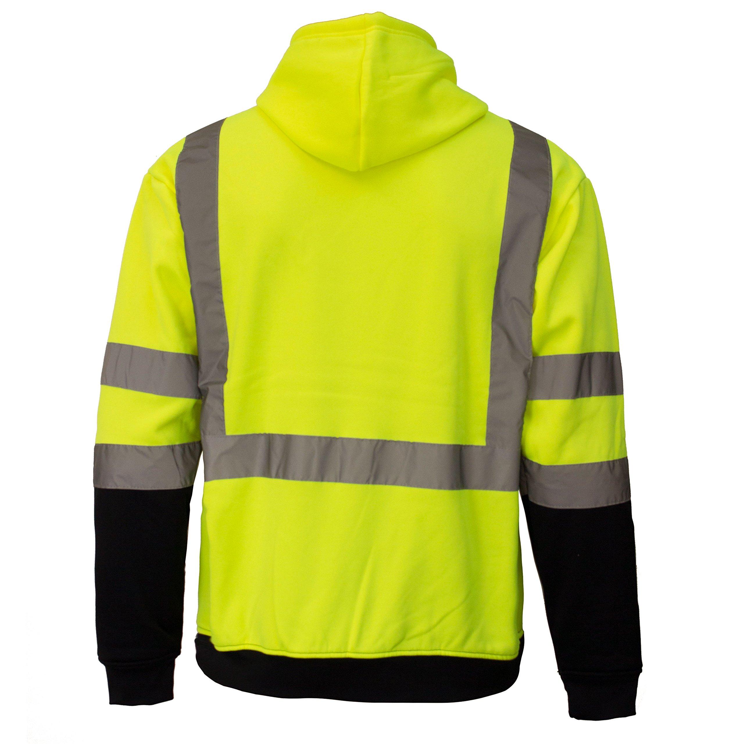 New York Hi-Viz Workwear H8312 Men's ANSI Class 3 High Visibility Class 3 Sweatshirt, Hooded Pullover, Knit Lining, Black Bottom (Lime, Large) by New York Hi-Viz Workwear (Image #3)