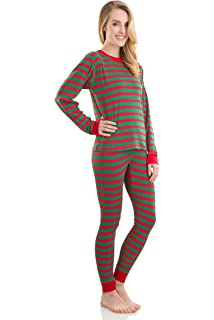 dde3c50022 Elowel Adult Womens Mens Family Christmas Fitted Striped Pajamas 100% Cotton