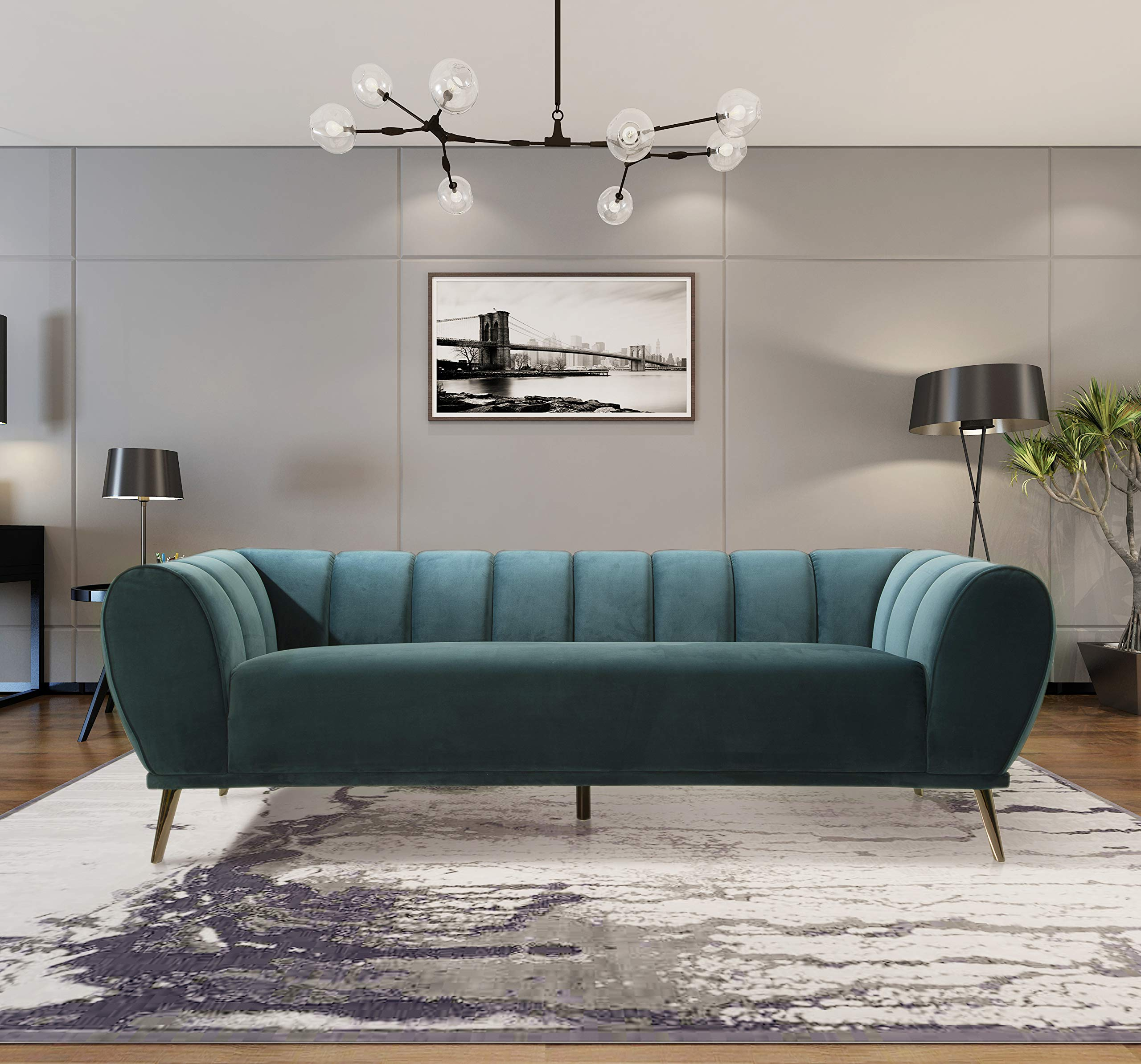 Iconic Home Sybel Sofa Velvet Upholstered Vertical Channel-Quilted Shelter Arm Single Bench Design Solid Metal Legs Modern Contemporary, TEAL by Iconic Home