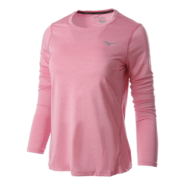 Mizuno Damen Impulse Core Longsleeve Tee Laufbekleidung Longsleeve Rosa - Silber S