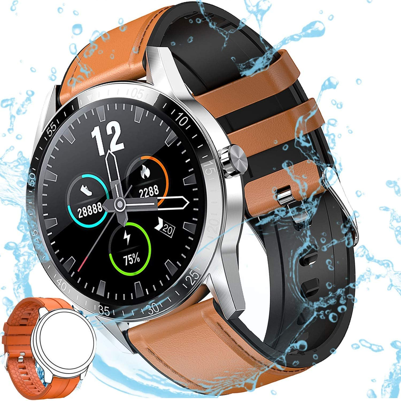 Reloj Inteligente Hombre, Smartwatch Mujer | 168 MB ROM | IP68 Impermeable con micrófono Altavoz,Realizar y Recibir Llamadas, música,14 Modos Deportivos y de Salud Smart watch (Marrón y Naranja Correa