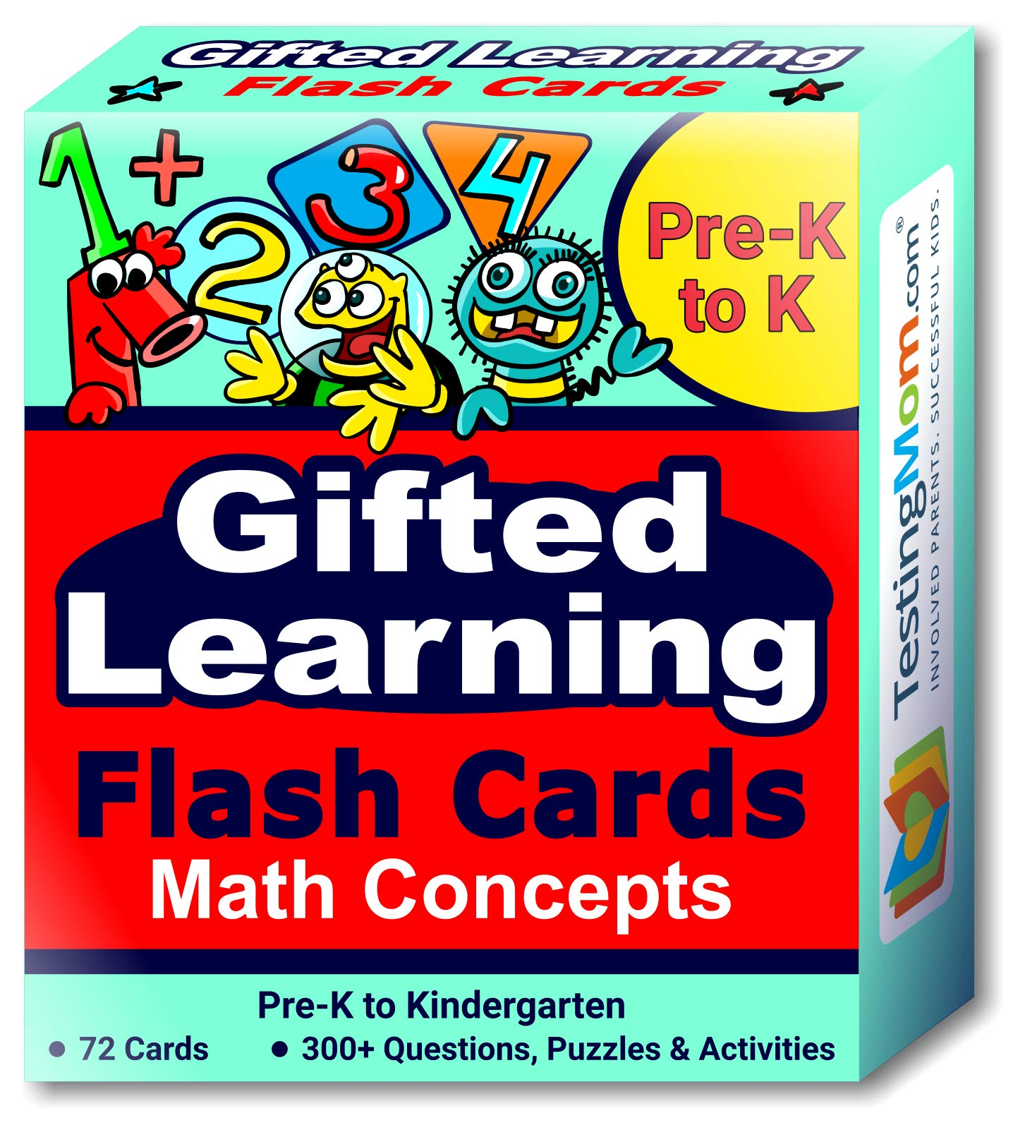 TestingMom.com Gifted Learning Flash Cards - Math Concepts for Pre-K - Kindergarten - Educational Practice for CogAT Test, OLSAT Test, ITBS, NYC Gifted and Talented, WISC, WPPSI by TestingMom.com