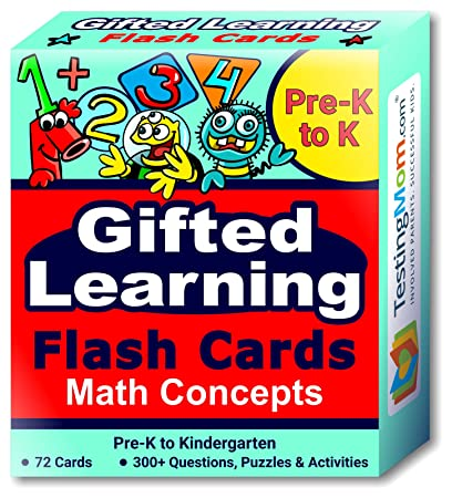 TestingMom.com Gifted Learning Flash Cards – Math Concepts for Pre-K –  Kindergarten – Educational Practice for CogAT Test, OLSAT Test, ITBS, NYC  ...