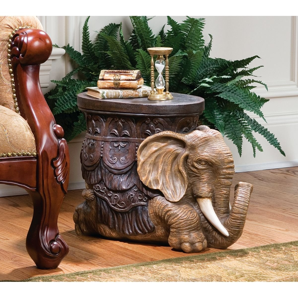 Amazon.com: Design Toscano The Sultans Elephant Sculptural Side Table:  Kitchen U0026 Dining