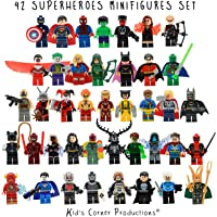 Kid's Corner Productions® 42 Superheroes Minifigures Set | Collection Set of 42 Characters | The Most Famous Superheroes of Marvel and DC Comics with Tools, Helmet and Stand | Batman, Thor, Hulk, Captain America and many more (42 pieces)