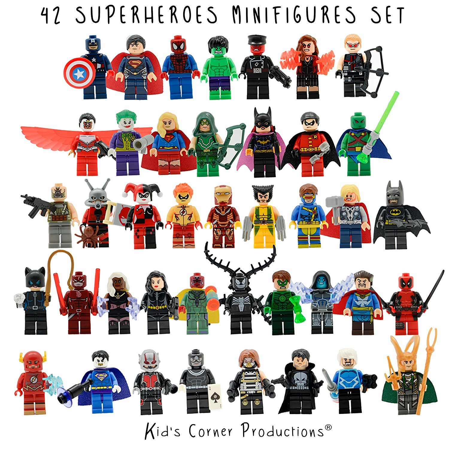 Kid's Corner Productions® 42 Superheroes Minifigures Set | Collection Set of 42 Characters | The Most Famous Superheroes of Marvel and DC Comics with Tools, Helmet and Stand | Batman, Thor, Hulk, Captain America and many more (42 pieces) Kids Corner Produ