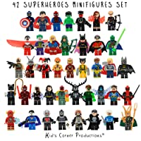 Kids Corner Productions® - Super Heroes Lego Figures 42 Set Lot Mini Figures Marvel et DC Comics - Party Bag avec Batman, Spiderman, IronMan, Thor, DeadPool et beaucoup plus - Compatible avec Lego ...