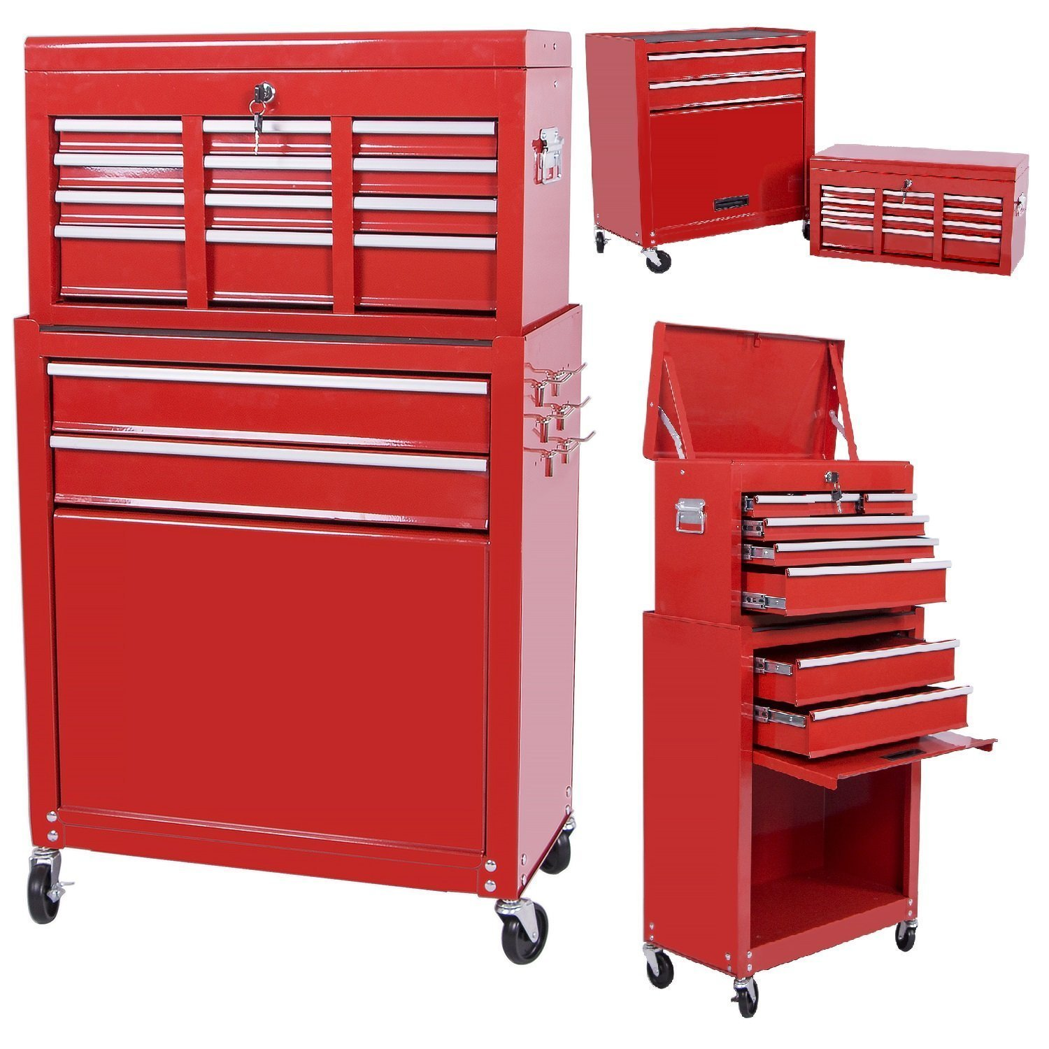 Handyman Heavy Duty Steel Toolbox with Chests and Roller Cabinets 4 Wheel Casters (Red)