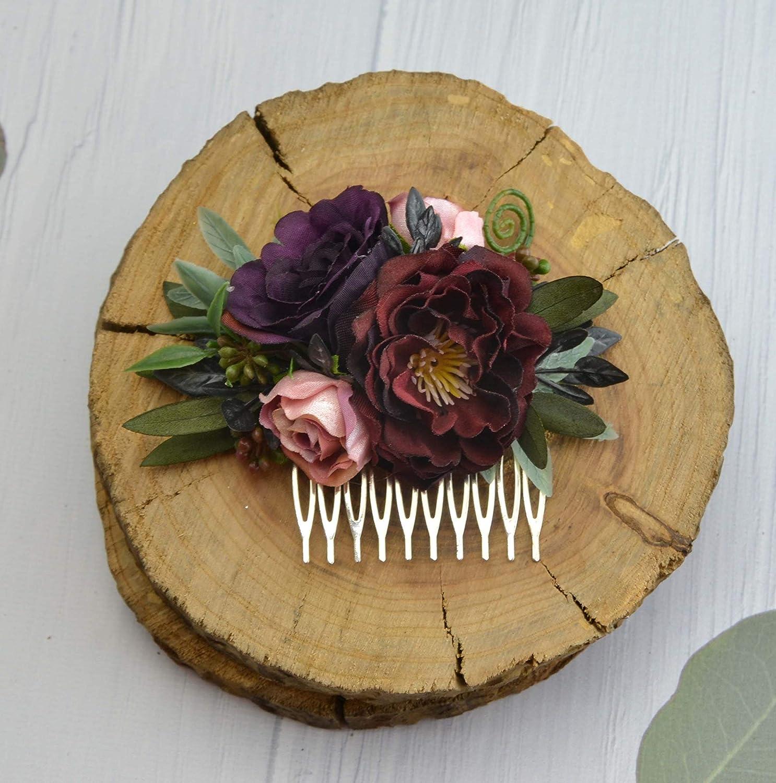 Burgundy eucalyptus flower comb Bridal Floral headpiece Wedding Flower hair piece slide comb for bride