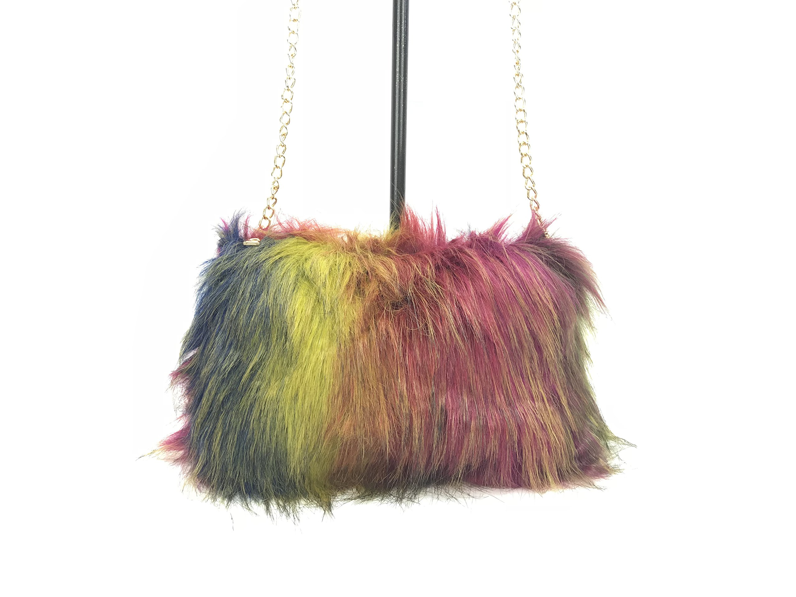 GoodCape SOPHIA Series faux fur sling bag with gold chain and zipper pocket
