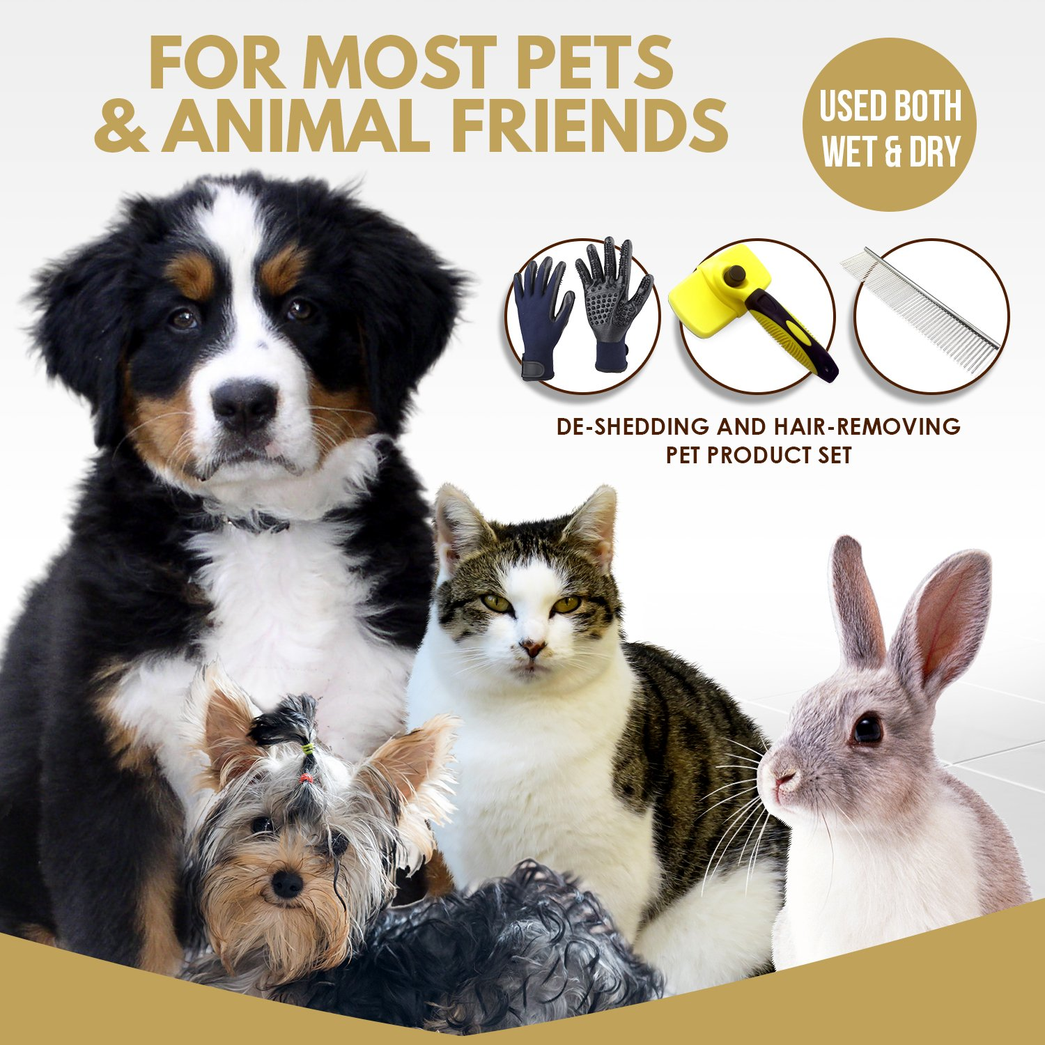 3 in 1 Pet Grooming Set,Self Cleaning Slicker Brush,Pet Comb and 1 Pair Pet grooming Gloves-Right & Left Hands,Anti Shedding Pet Hair Remover for Dogs & Cats,Deshedding Fur,Long & Short Hair,Undercoat by SOUL MUTT VAVA (Image #2)