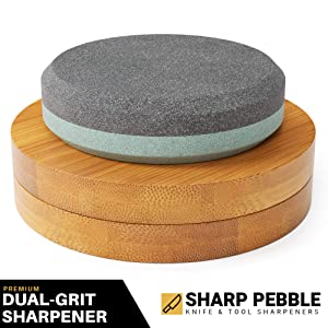Sharp Pebble Disk - Axe/Hatchet Sharpening Stone- Whetstone Blade & Tool Sharpener- Dual Grit Multipurpose Waterstone Sharpener with Bamboo Gift Box