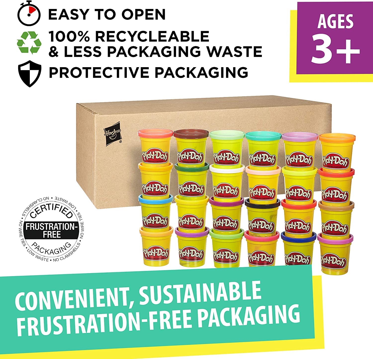 3-Ounce Cans Multi-Color Play-Doh Modeling Compound 24-Pack Case of Colors Ages 2 and up Multicolor Exclusive Non-Toxic