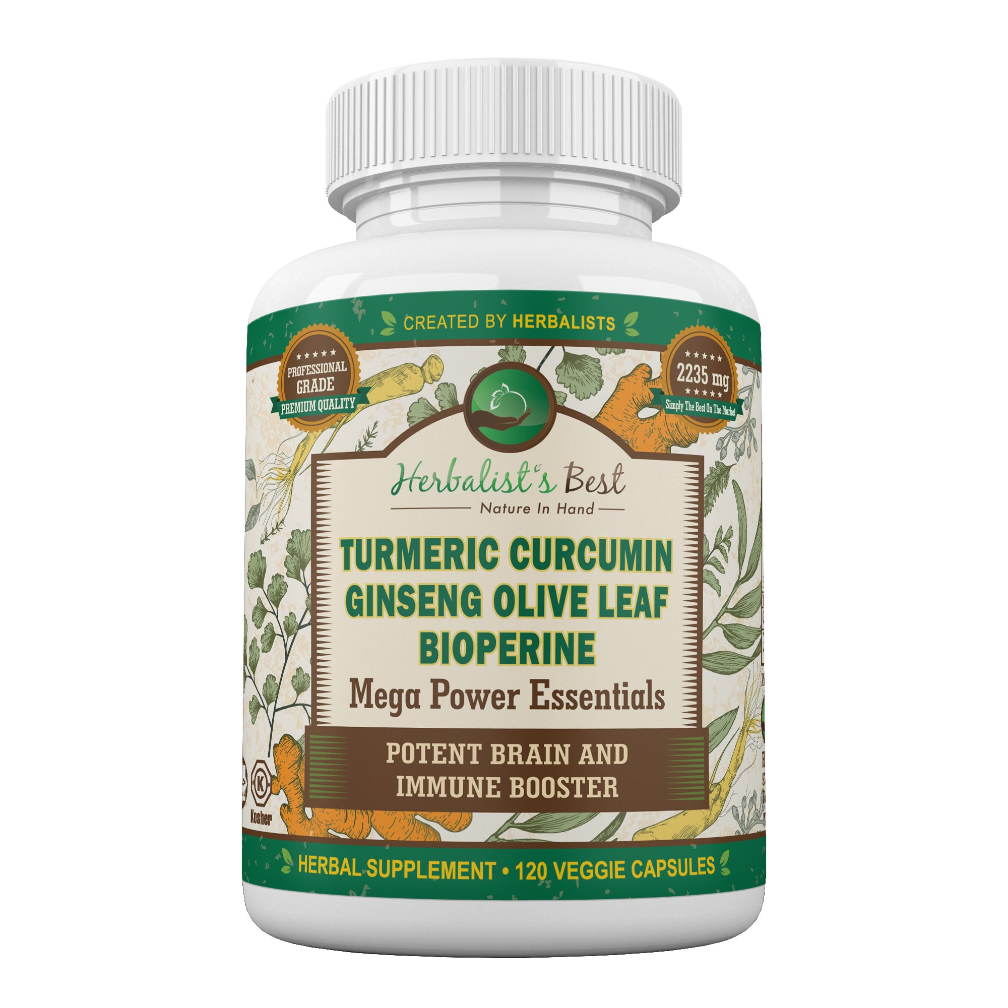 Turmeric Curcumin Ginseng Olive Leaf Bioperine 2235mg/day Mega Power Essential Extract by Herbalist's Best 95% Curcuminoids 100% Natural Immune Booster Anti Inflammatory Anti Aging Antioxidant