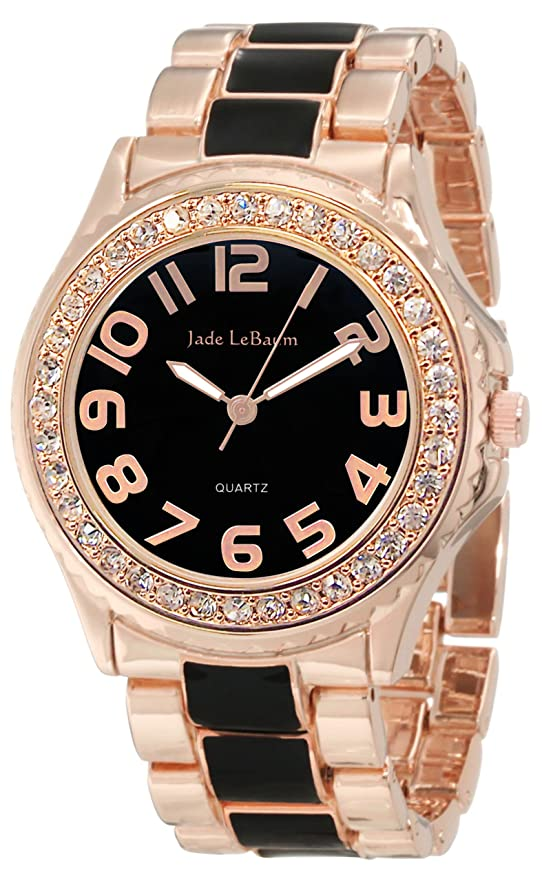 Amazon.com: Jade LeBaum Womens Boyfriend Bracelet Watch Two Tone Rose Gold and Black Chunky Large Face JB202745G: Jade LeBaum: Watches