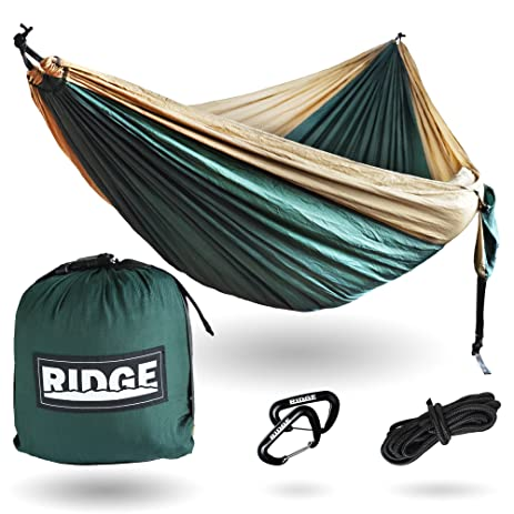 double camping hammock   11 ft  nylon ripstop for extra  fort   this parachute hammock amazon    ridge double hammock  u2013 put your butt in our hammocks      rh   amazon