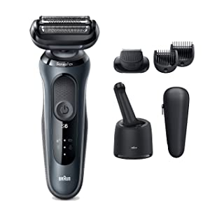 Braun Electric Razor for Men, Series 6 6075cc SensoFlex Electric Shaver with Beard Trimmer, Rechargeable, Wet & Dry Foil Shaver with 4in1 SmartCare Center and Travel Case, Black